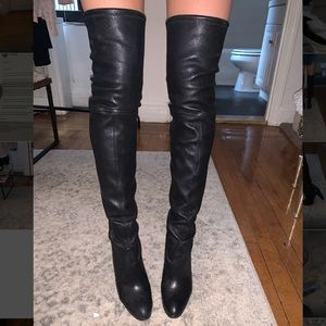 Stuart Weitzman Black Leather Highland Boots - 8
